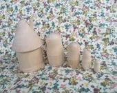 DIY Blank Dollhouse with Russian Nesting Matryoshka Dolls- 5.5 inch 5 piece Set Unpainted