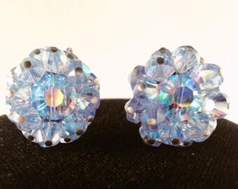 Clip on Earrings, Vintage Earrings, Hobe Earrings, Vintage Earrings, Blue Earrings, Beaded Earrings, Blue Crystal Earrings, Signed Earrings