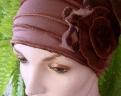 Womens Chemo Hat Headwear Summer Weight Flapper Mushroom Brown chemo hat with animal print flower