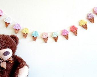 Kids room decor - crochet ice cream garland - colorful children party decoration - kids birthday party wall decor - ice-cream cones ~35.5 in