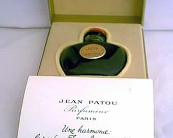 1950s Jean Patou Joy Perfume Made in France Boxed with Presentation Card Paris