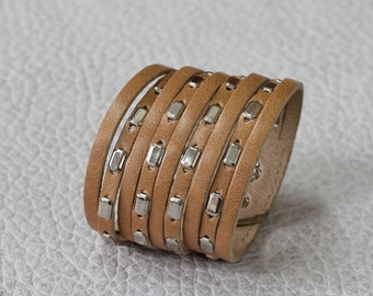 Multi Strand Leather Cuff, Light Brown Leather Bracelet