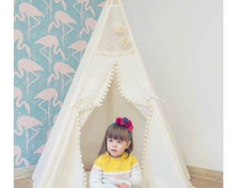 Tipi with poles and playmat: 5 pole kids children playtent, play tent, tipi, teepee, tepee, wigwam, indian tent, - with poles and playmat