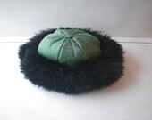 Ladies Black Sheepskin Hat - Size Medium - Leprechaun Greenfield Mass. Made in USA