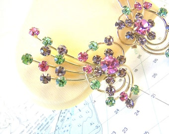 1960s Multicolor Rhinestone Climber Clip Earrings Abstract Spray Very Large