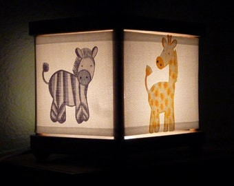 Jungle Animal Night Light Rhino Zebra Giraffe Elephant Decor