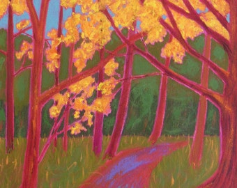 "autumn painting, new england in autumn, titled ""The Light Above"", 16in x 12in acrylic on canvas, FREE shipping in the U.S."