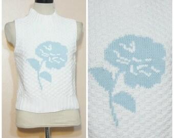 80s 90s Sweater Tank Top Crop Top Medium Large Floral Mock Neck Pastel Goth