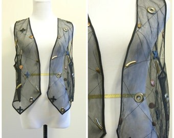 90s Sheer Black Vest Medium Large Black Mesh Gold Silver Embellishment