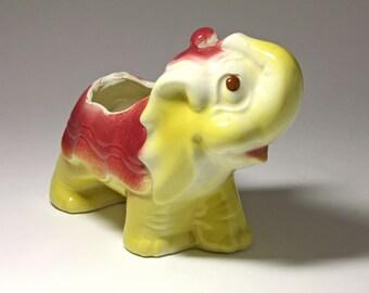 Vintage Yellow and Pink Circus Elephant Planter - circa 1950's