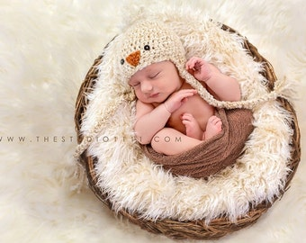 Crochet Baby Chick Hat, Newborn Photography Prop