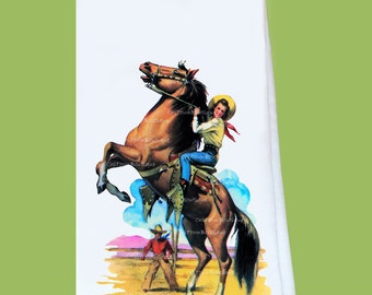 Vintage Western, Horse Rider, Flour Sack, Tea Towel, all cotton, lint free, great gift, hostess or housewarming, ChiTownBoutique