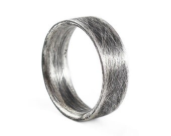 Mens Wedding Band Sterling Silver Oxidized Plain Mens Rings Personalized