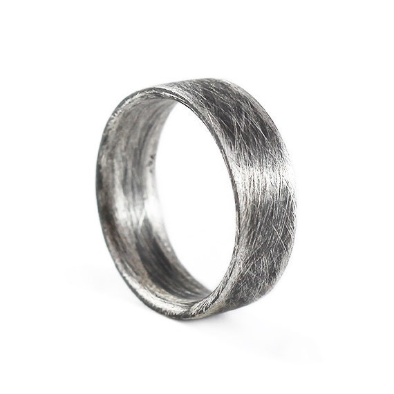 Mens Wedding Band Sterling Silver Oxidized Plain Rings