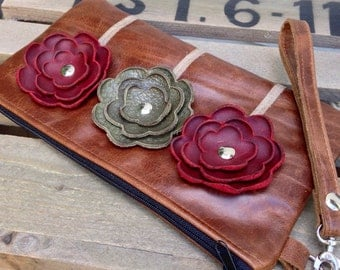 Ready to Ship Brown Burgundy Olive Green Leather Wristlet Clutch Small Purse Iphone Galaxy Cell Phone Brown Poppy Flowers with Key Fob
