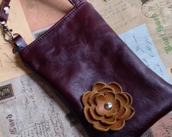 Mahogany Brown Leather Caramel Flower Cell Phone Galaxy Iphone Camera Sling Crossbody Case Zipper Pouch