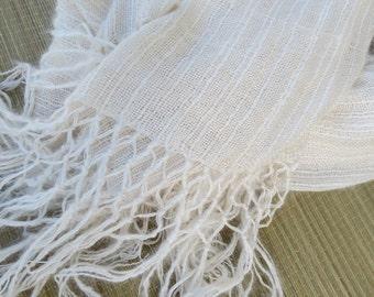 Silk and Angora Handwoven Shawl Scarf  handwoven hand woven gift white sheer handspun Christmas Holiday