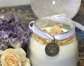 CANCER Astrological Soy Zodiac Candle Essential Oils Herbs Moonstone Crystal