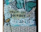Butterfly Art Print/ canvas/mixed media collage /mixed media painting/ trust the journey