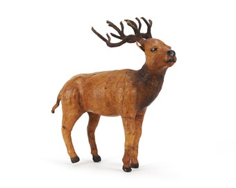 vintage large leather elk figurine