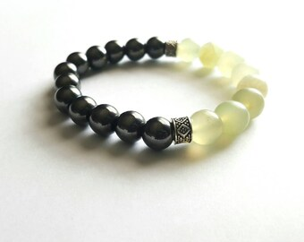 Classic men's beaded bracelet, modern gemstone bracelet,mens stretch bracelet