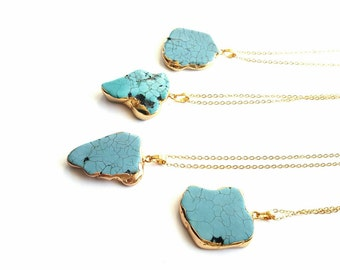 Gold dipped turquoise necklace// turquoise slice pendant//slice gemstone//turqoise nugget necklacebohemian necklace//boho turquoise necklace