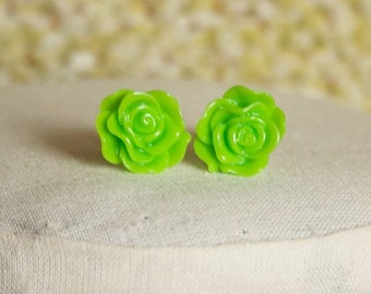 Handmade Earrings Lime Green Flower Earrings Green Flower Post Earrings Bright Green Earrings Green Post Earrings Lime Green Earrings
