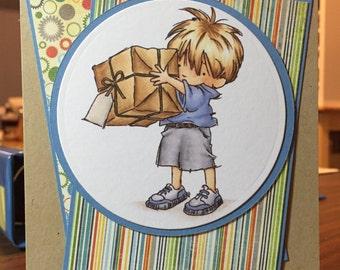 Boy and Big Present Birthday Card