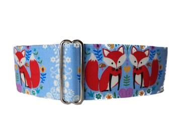 2 Inch Martingale Collar, Fox Martingale Collar, Fox Dog Collar, Blue Dog Collar, Martingale Collar Greyhound, Martingale Dog Collar