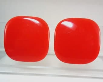 Vintage Clip Back Bright Red Large Plastic Earrings