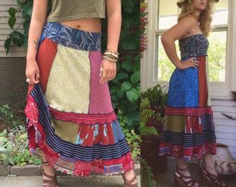 Eco long boho Skirt/tube Dress, size S/M, patchwork dress, boho skirt, hippy dress, festival skirt, hippy skirt, gypsy skirt,Zasra
