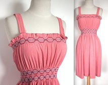 Vintage 1970's Dress // 60s 70s Rosy Terrycloth Sun Dress // Summer Day Dress with Embroidery // Hungarian Dress