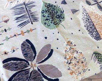 Barkcloth Curtain Panel // 50s 60s Leaf Flower Print Curtain // MId Century Modern
