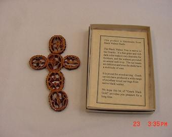 Vintage Handmade Black Walnut Shell Religious Cross   16 - 214