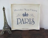 Stenciled Serving Tray, Vintage Cream Wood Tray, French Themed Stenciled Tray