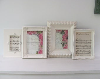 Shabby Chic Picture Frames, Set of Four Cream Frames, Wedding, Nursery Frames