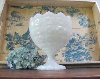 Vintage Milk Glass Compote, Milk Glass Vase, Wedding Vase, Centerpiece Vase
