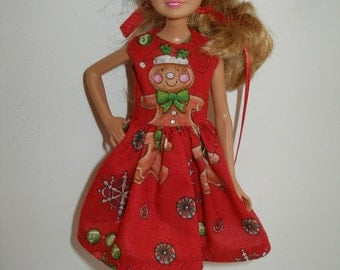 """Handmade 9"""" little sister fashion doll clothes - red holiday gingerbread dress"""