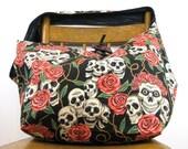 SKULL BAG - Across Body Bag - Crossover Bag - Hippie Bag - Boho Bag - Goth Bag - Skull Purse - Skull and Roses - Vegan Bag - Hobo Bag