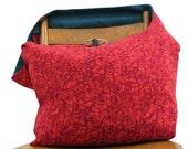 RED CROSSBODY BAG - Boho Bag - Crossbody Bag - Oversized Bag - Across Body Bag - Hippie Bag - Vegan Bag - Floral Bag - Large Bag - Sling Bag