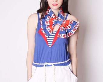 Nautical Sailor Vintage Romper Red White and Blue Stripes / Salior Rompers / Onesie / Shorts / Cotton Shorts / 1929