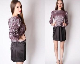 70% Off FINAL SALE - Short Vintage Dress - Vintage Peplum - Metallic Pink Dress - 2882