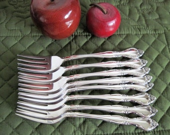 8 Vintage Oneida Community Silverplate Affection Pattern Salad/Cake Forks Circa 1960's