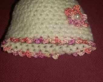 White/pink crochet  hat for approx. 7 inch baby