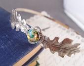 Dancing in the fall--Vintage style Swarovski crystal silver oak leaves headband