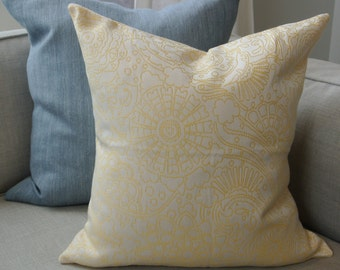 Yellow & White Pillow Cover/ 18x18