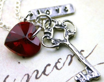 ON SALE Love is the Key Necklace - Scarlet Crystal Heart, Silver Key, and Love - Swarovski Crystal and Sterling Silver