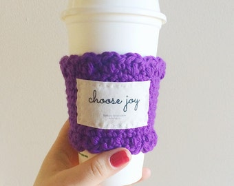 Choose joy quote cup cozy, coffee sleeve, coffee cup cozy, iced coffee tumbler sleeve, cup cosy, valentines day gift for her, Christian gift