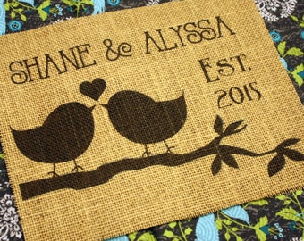 Lovebirds - Personalized Burlap Print