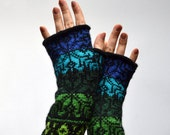 Fingerless Gloves - Blue Tones Wool Gloves - Gloves with Stars - Scandinavian Gloves - Winter Accesories nO 82.